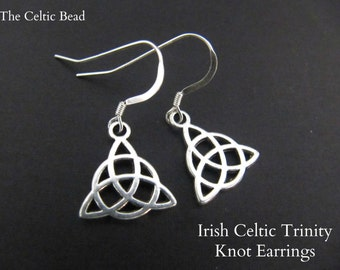 Irish Silver Trinity Celtic Knot Earrings