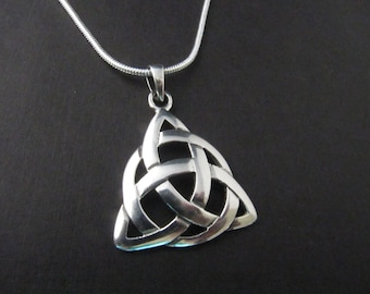 Sterling Silver Large Trinity Knot Necklace