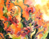 Tangerine and Peach silk scarf. Hand painted  spring . Hand painted silk scarf. Gift for Mom.  Made to order.