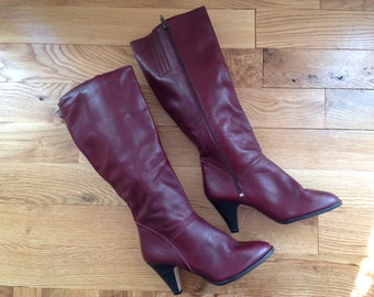 Vintage Boots /  7 1/2 Women's / Oxblood Boots