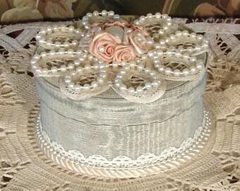 Victorian Keepsake / Trinket / Hat  Box - Sm Round - Vintage Style - Hand Decorated - No. G-51