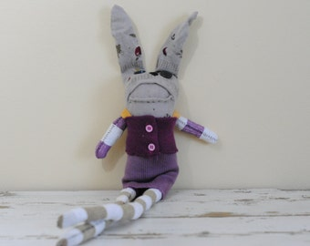 Rag Doll, Sock Animal Bunny, Cashmere skirt and top, Hand-Stitched, Made with all Reclaimed Clothing, Plush Hipster Toy, Sustainable, OOAK