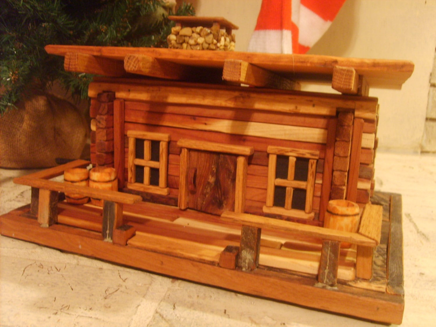 rustic log cabin birdhouses - photo #8