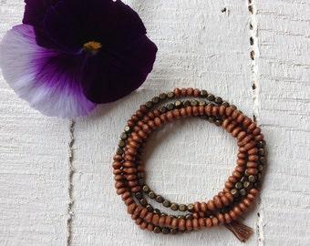 Wood Bead and Brass Bead Boho Bracelet Wood Wrap Bracelet Necklace Brown Wood Bead Bracelet