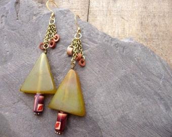 Earthy Tree Earrings, Triangle Jewelry, Agate and Wood