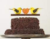 Yellow Bird Wedding Cake Topper, Canary, Spring Wedding Theme Bride and Groom