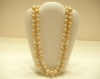 Vintage Double Strand Faux Pearl Necklace (2214) Crystals & Opalescent Beads