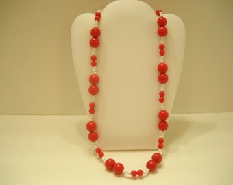 "Vintage 24"" Bright Red & White Beaded Necklace (1567)"