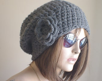 gift for women DARK GRAY Womens hat - chunky knit Slouchy Beanie Slouch Hat Fall Winter Accessories Beanie Autumn Christmas Fashion