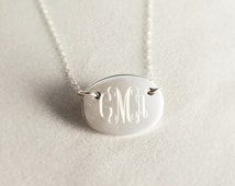Oval Monogrammed Necklace in Sterling Silver for Women or Bridesmaid Present