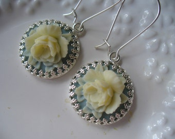Creamy White Rose Blue Cabochon Crown Dangle Earrings, Floral Earrings, Flower Earrings, Floral Jewelry, Summer Earrings, Gift For Her