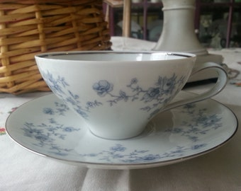Johann Haviland Coupe Tea Cup and Saucer, Blue Garland, made in Bavaria, Germany