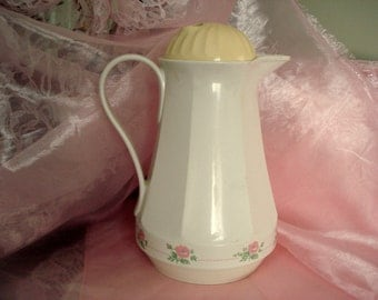 Vintage Shabby Coffee Carafe Butler Thermos Christa Ivory Insulated Pink Roses #430 Cottage Chic