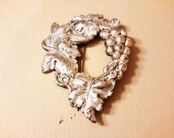 Banana Bob Brooch,  Silver Tone,  Dog or Wolf in Vines