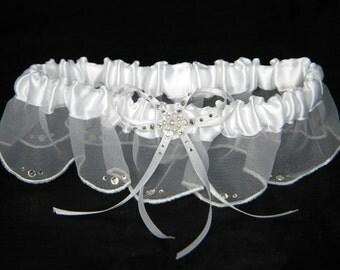 Custom Traditional Wedding Garter Belt Scallop skirt w/ Swarovski Crystal White Ivory Pearl Bridal Organza Ribbon Satin Silk Lace Gift