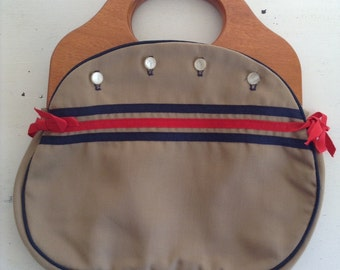 vintage. PURSE. multi color. INTERCHANGEABLE. five covers. WOOD. 1970s