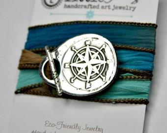 Traveler Bracelet,  Travel Jewelry, Nautical Jewelry, Compass Bracelet, Silk Wrap Bracelet, Inspirational gift for her, Compass Jewelry