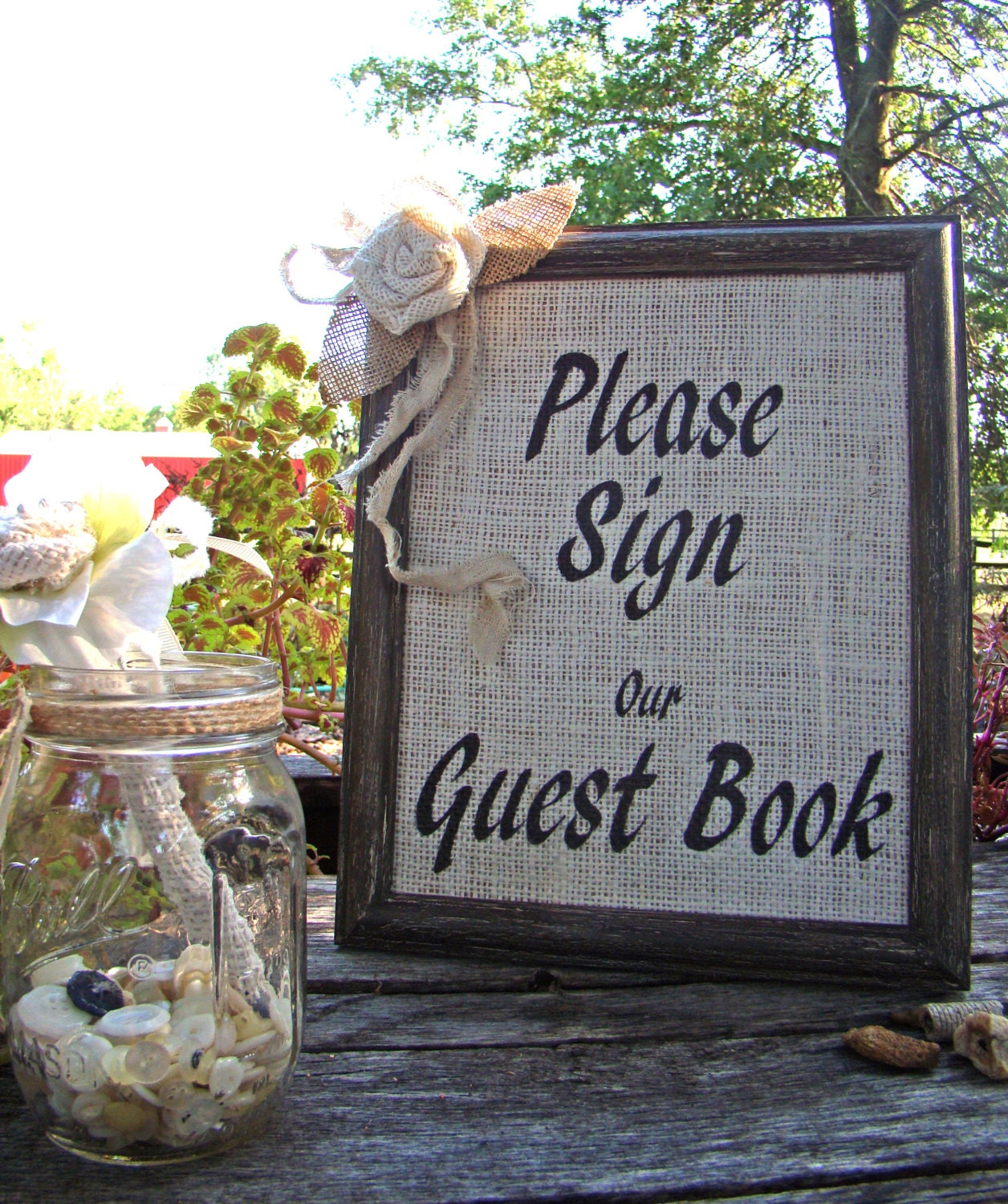 Ideas For Wedding Guest Sign In: Burlap Guest Book Sign Wedding Guest Book Sign By TwiningVines
