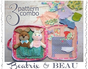 3 PATTERN COMBO Beatrix and Beau Baby Bunny PDF Doll Pattern, Wardrobe and Travel Case