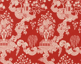 Red Toile Upholstery Fabric - Red and White Asian Toile Pillow Covers - Heavyweight Furniture Fabric - Woven Chinoiserie Upholstery Fabric