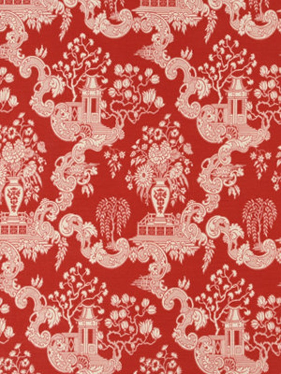 Red toile upholstery fabric red and white asian toile for Oriental style wallpaper uk