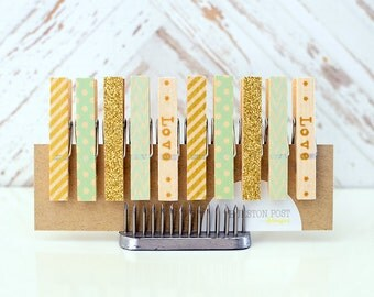 SALE! Washi Clothespins Set of 10 Mini Clothespins Mint Gold