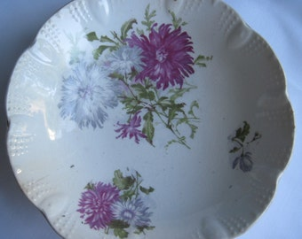 Pink Mums Decorative Vintage Bowl Shabby Chic made by East Liverpool Potteries Co., Ohio