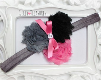 Black and Pink Shabby Flower Headband. Baby Headband. Girl Headband. Newborn Headband. Birthday Girl Headband.