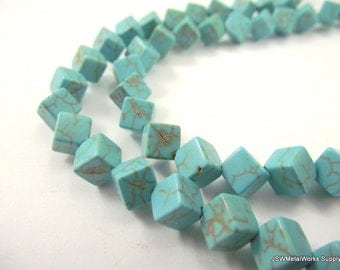 Magnesite Beads, 6 x 6 mm Dice Beads, Square Beads, 15 Inch Strand, Whole Strand