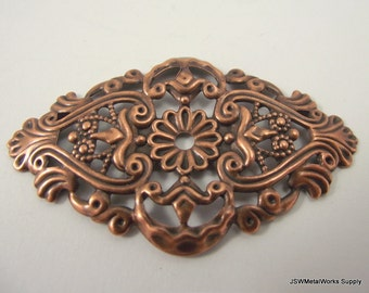 Antiqued Copper Plated Filigree Focal, 59x35mm, 6 Pieces