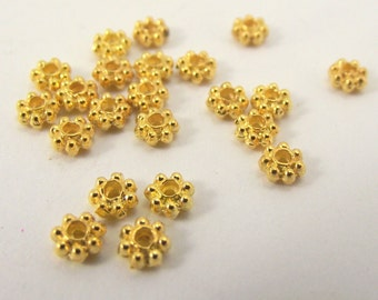 Gold rondelles, spacer beads, 4 x 2mm, 250 Pieces