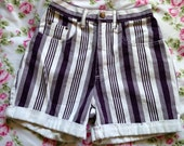 Purple and White Stripes High Waisted Shorts