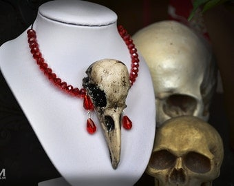 Animal-friendly Crow Choker skull necklace pendant with Swarovski crystal Mortiis.M