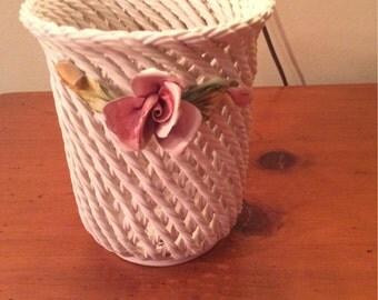 Basketweave ceramic pot with roses