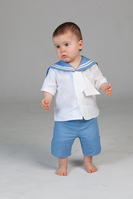 Baby Boy Sailor Outfit Baptism Christening Linen Suit