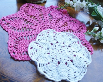 Hand Crochted doilies shabby chic lot of two circa 1960s