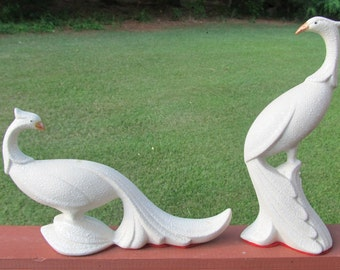 Vintage mid century pair of ceramic peacocks - or pheasants - mid century - gorgeous