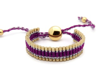 Link Friendship Bracelet - Purple Silver Strips (Gold) - (One Direction)