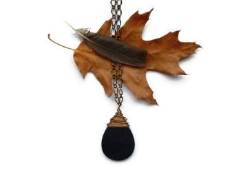 long onyx teardrop necklace // wire wrapped bohemian pendant