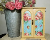 Large Upcycled Vintage Distressed Wood Jewelry Box/Armoire, Hand Painted In A Soft Yellow Chalk Paint with Rose Print Doors
