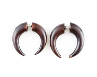 """Fake Gauge Earrings - Wood Earrings Fake Piercing - Tribal Earrings """"Wood Crescents"""" Fake Plugs - Hippy Boho Fake Plug Wood Earrings"""