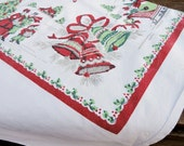Vintage Christmas Holiday Tablecloth, Large, Heavy Cotton, White, Red, Green, Home Decor - RustbeltTreasures