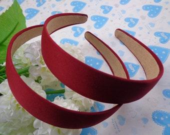 SALE--10 pcs Red wine Satin  Headbands-- 30mm Wide