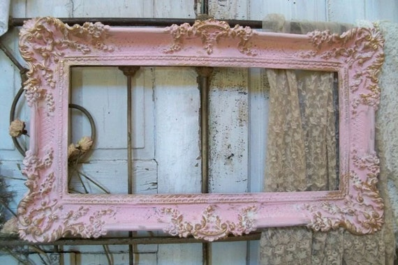reserved for armando large ornate vintage frame pink accented gold shabby chic romantic wall home decor