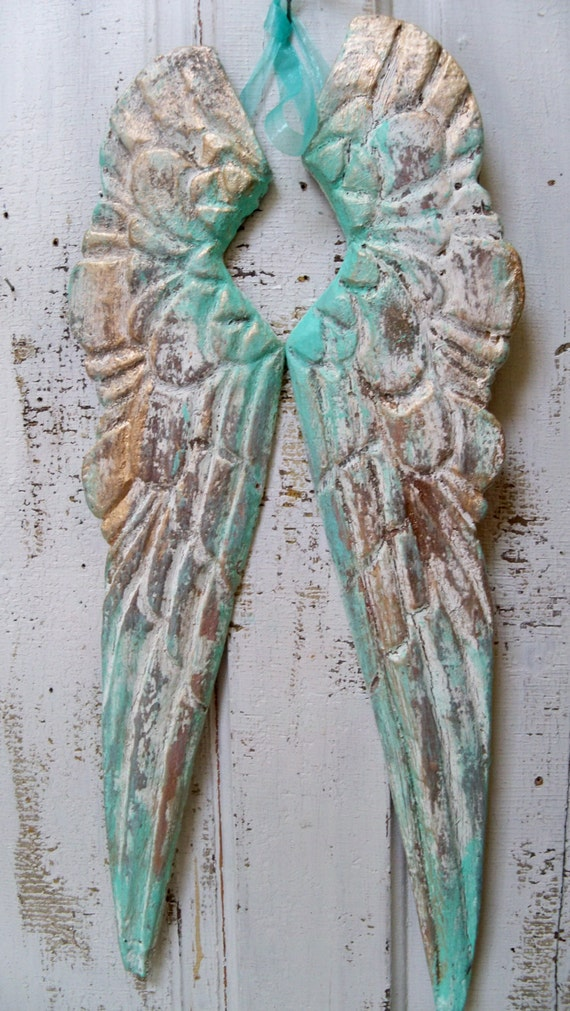 Angel Wings Wall Decor Sea Foam Distressed With White Carved