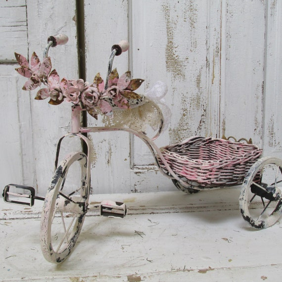 Distressed Home Decor: Bicycle Home Decor Hand Painted Pink By AnitaSperoDesign