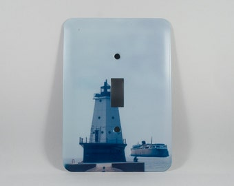 SALE Light Switch Cover, Ludington Michigan Lighthouse Badger Ferry Design, Home Décor, Photograph