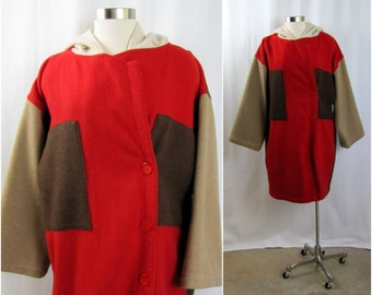 Vintage Coat | 1980s | Castelbajac Ko and Co Color Block Coat | One size