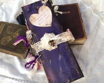 Wedding Guest Book - Purple, Lilac and pink In vintage rustic scrapbook style
