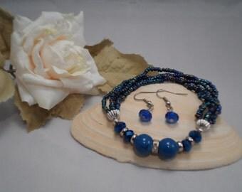 Stretch Bracelet, Beaded Stretch Bracelet, Multi Strand Bracelet, Blue Beaded Bracelet, Free Earrings